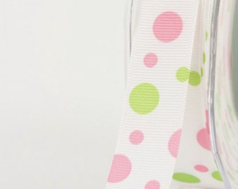 7/8 Inch Grosgrain / Bubble Dots Ribbon Pink Green Lime Hair Bow DIY Scrapbooking Girls Dress Party