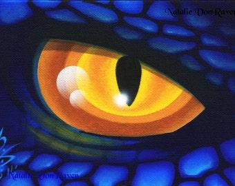 ORIGINAL Gothic Fantasy Dragon Eye Slit Mythical Creature Animal Mini PAINTING Blue Yellow Scale SFA Art Acrylic Natalie VonRaven