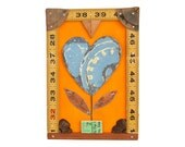 mixed media assemblage art, love grows (17), vintage tin, heart art,  flower frog, original art by Elizabeth Rosen