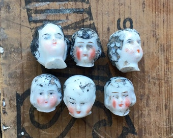 1 TINY vintage doll head, doll parts, antique doll, assemblage supply, dug up, frozen charlotte, from Elizabeth Rosen