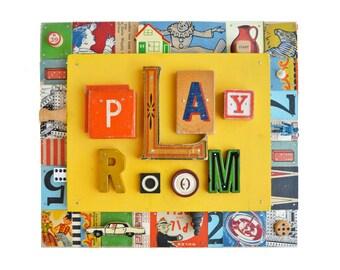 PLAY ROOM decor, play room sign, play room art, mixed media assemblage, nursery decor, wood sign by Elizabeth Rosen