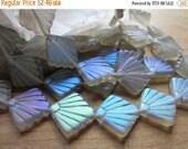 ON SALE Czech Glass Bead Art Deco Fan Black Diamond Matte AB 17mm Qty 4