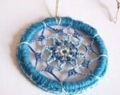 Light Blue Mandala, Throat Chakra Mandala, Dream Catcher, Blue Suncatcher, Boho Decor, Hippie Gift, Crochet Chakra Art, Crochet Mandala