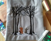 Fox and Bunny Rabbit Winter Pouch for Small Items, Gray and Black