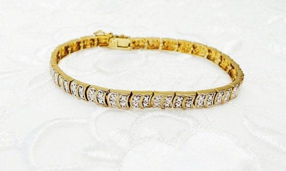 Silver & Diamond Bracelet, Gold Layer, Stamped .925, Vintage Fine Jewelry, Estate Sale, Item No. S425