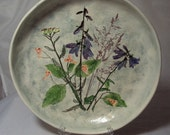 Salt Marsh Pottery Wall Plaque Plate Campanula, Yarrow, Jewelweed