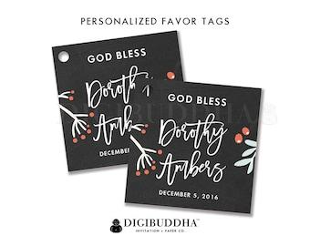 FAVOR TAGS Christmas BAPTISM Favor Tags Holiday Baptism Favor Tag Christening Label Tags Party Favor Tag DiY Printable or Printed - Dorothy