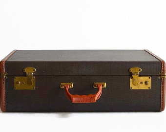 vintage brown suitcase with key 1940s 1950s luggage decor