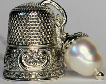 Acorn and Antique Thimble Peter Pan and Wendy Hidden Kisses Sterling Silver and Freshwater Pearl Second Star Right