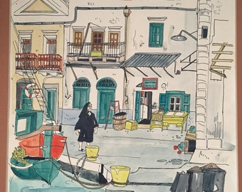 1972 Watercolor of Symi Greece by Lime Hahue 1972