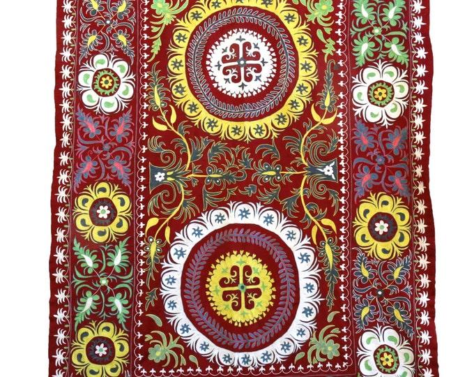 New Handmade Silk Suzani ES111, Suzani Tapestry, Suzani Wall Hanging, Suzani Bedspread, Suzani Blanket, Suzani Bedding, Suzani