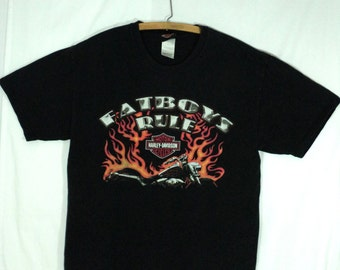 Harley Davidson Fatboy tee shirt, size large, made in USA, Fatboys Rule, black t shirt, Thunderbolt Butte Montana 1990's, motorcycle