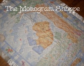 Rambling Ted bear, Quilted Baby Crib Blanket, Quilt, Throw, with Satin Binding