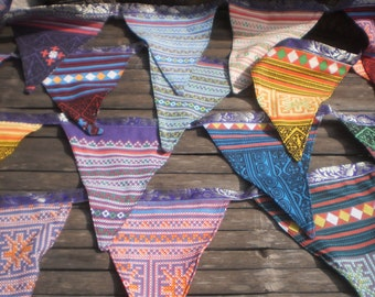 Tribal Textile Bunting Double Sided 6 Yards (18ft) Beautiful Decoration Extra Long