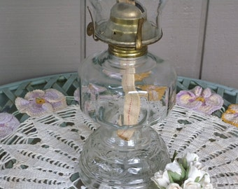 Oil Burning Industrial Lantern Hurricane Lamp // Farmhouse Light //Rustic ~ Antique Glass Lamp Table Lamp Kerosene Light