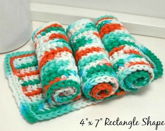Hand Crochet Dishcloths - Eco Friendly Crochet Dishcloths: Set of 4 - Teal & Coral Dishcloths - American Cotton