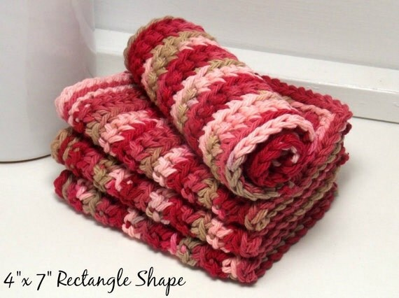 Red Dishcloths - Eco Friendly Crochet Dishcloths: Set of 4 - Damask Ombre - American Cotton