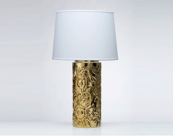 Gold Floral Sculpted Lamp with White Shade