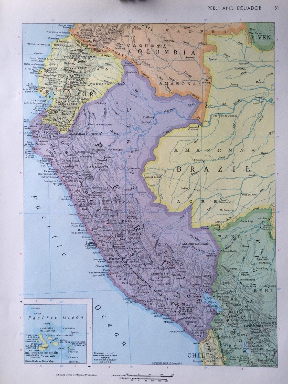 Vintage 1967 rand mcnally world atlas map page peru ecuador on 500 gumiabroncs Choice Image