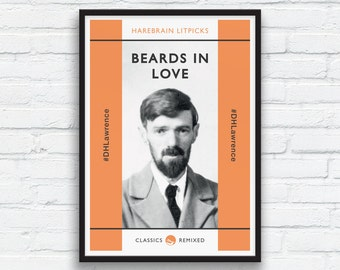 Beard Art Print, DH Lawrence print, Orange and Charcoal Black Decor, Beard Play, Penguin Classics parody, Funny Beard Print, Printable Art