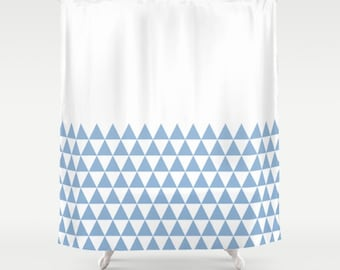 36 colours, Geometric Triangles Half Pattern Shower Curtain, bathroom shower curtains, Powder Blue and white triangles bathroom decor