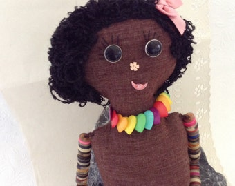 Button doll - button collector - rainbow necklace
