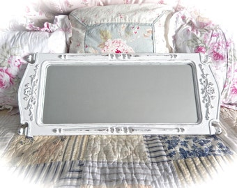 Shabby Winter White Ornate Long Wall Mirror Scrolled Floral Cute Fancy Cottage Chic READY TO SHIP