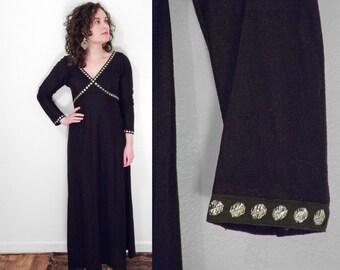 Crisscrossed Dress 1970s Black Metallic Silver Circles Empire Waist S / M