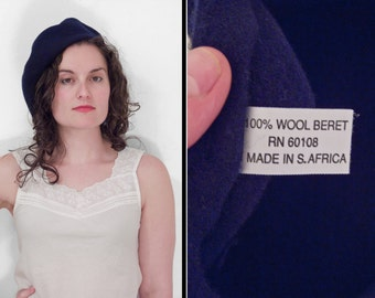 Navy Wool Beret Made in South Africa Blue Hat Beatnik Artist 1990s
