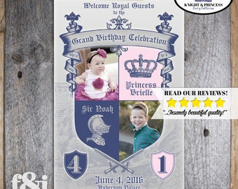 Knight & Princess Welcome Poster | Knight Princess Birthday Sign | Princess Welcome Poster | Knight Welcome Poster | Party Sign | Printable