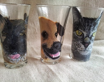 Pet shot glass, dog, cat, horse, Shot glass Hand Painted