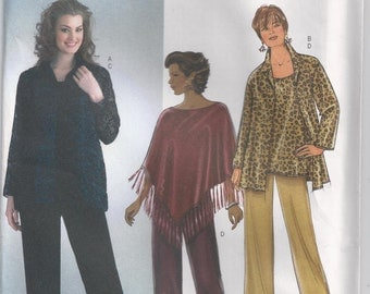 Pullover Poncho Top With Long Sleeves Lined Tank Top And Pants Plus Size 26w 28w 30w 32w Sewing Pattern 2004 Butterick B4303