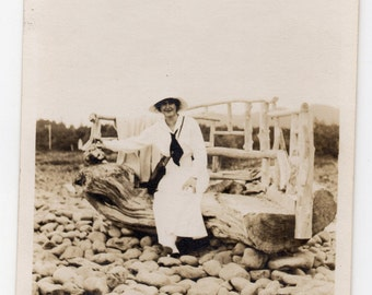 Woman On Driftwood Chair Antique Photograph Vintage Fashion Photo On The Beach Paper Ephemera