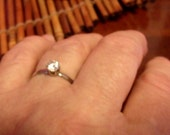 Promise Ring size 10, Simple, silver metal ring, white zircon stone, zircon ring, Large size engagement ring....
