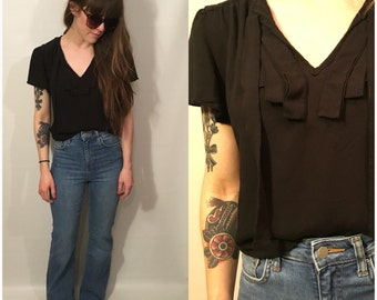 Vintage 90s Black Short Sleeve Blouse Front Tie Flowy Crop Shirt Ruffle Top Goth Grunge Size Small