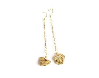 Raw Stone Earrings - Gold and Rough Cut Raw Stone Earrings