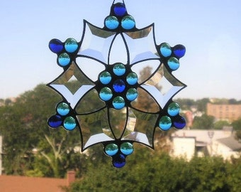 Stained Glass Snowflake Suncatcher Stained Glass Snowflake Winter Snowflake Shades of Blue Glass Art Handcrafted Made in USA  rafted
