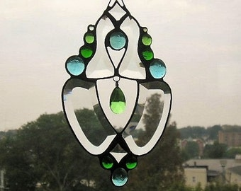 Stained Glass Art|Stained Glass Suncatcher|Beveled Glass Suncatcher|Aqua and Green|OOAK|Handcrafted|Made in USA