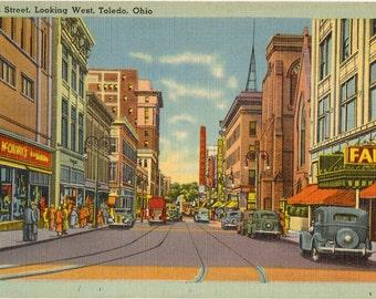 Linen Postcard, Toledo, Ohio, Adams Street Looking West, 1943