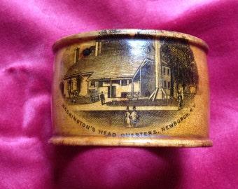 Antique Mauchlin Ware Washington's Headquarters at Newburgh Souvenir Napkin Ring