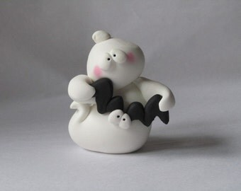 Polymer Clay Halloween Ghost and Bat