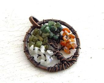 Tree of Life Pendant- Moonstone, Green Garnet, Emerald, Carnelian