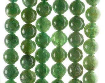 7-8mm Green Apatite Gemstone Grade A Round Loose Beads 7.5 inch Half Strand (80000928-155)