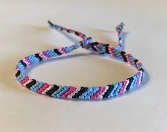 Pinks, Blues and Black Stripes - Friendship Bracelet
