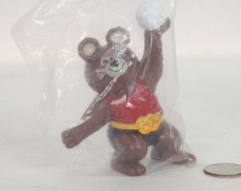 Misha Bear, 1980 Moscow Olympics Mascot, Hard Rubber Toy, Volleyball