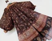 SALE :)))) JEAN VARON . Silk Goddess . Amazing Wide Aristocratic Sleeves Floral Print Silk Chiffon Midi Dress 70s indian India