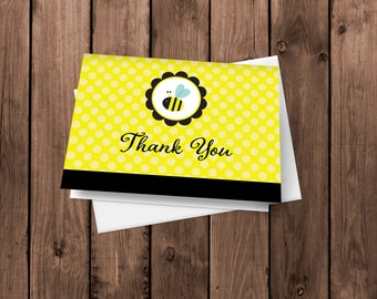 20 Baby Bee Blue  Thank You Cards