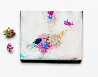 Small Original Abstract Art on canvas, Pink and gold painting, Art Decor, contemporary artwork 8x10 inch Contemporary Art