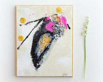 Art Abstract painting Black Gold Pink wall art Textured Acrylic paintings on small canvas by Heroux 8x10 Original