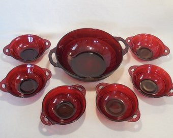 Coronation-Royal Ruby Salad Set by Anchor Hocking, Depression Glass, circa 1936